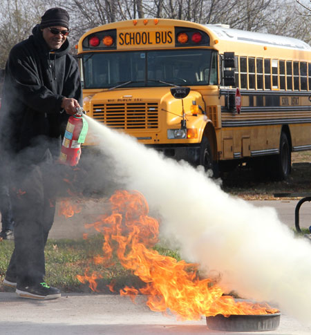 Fire training is part of the school bus driver training program