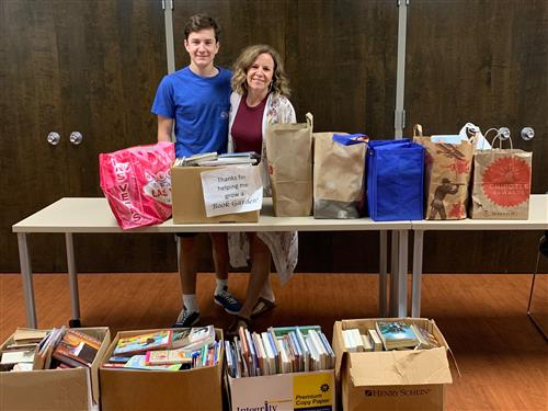 Maggie and Jack Elms with a generous Book Garden Donation