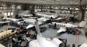 Airplanes in a Duncan Aviation Hanger