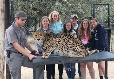 EFE Students gathered around a cheetah in South Africa
